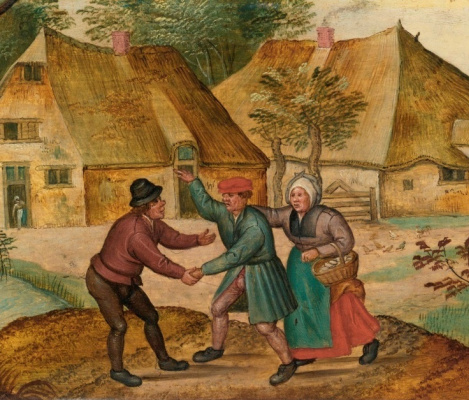 Peter Brueghel The Younger. Scenes from the life of the peasants. Meeting, a fragment