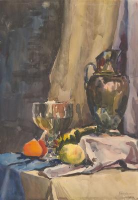Olga Konstantinovna Deineko. Still life with a jug and a glass. 1961