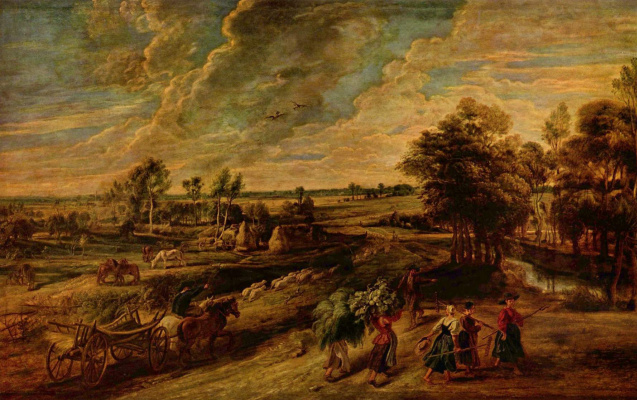 Peter Paul Rubens. Return of the peasants from the fields