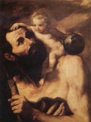 Хосе де Рибера. Св. Христофор с младенцем Иисусом