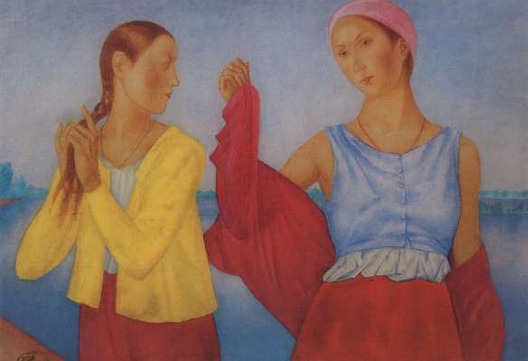 """Kuzma Sergeevich Petrov-Vodkin. Two girls. Study for the painting """"Girls on the Volga"""""""