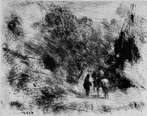 Camille Corot. Horseman and foot travelers in the forest