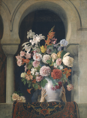 Francesco Ayets. Vase of flowers on the window of the harem