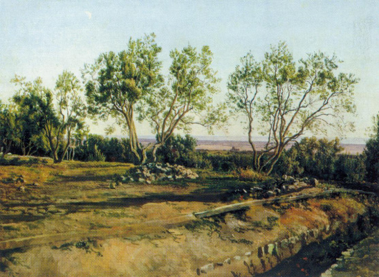 Alexander Andreevich Ivanov. Olive-tree at the cemetery in Albano. New moon