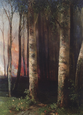 Alexey The Kondratyevich Savrasov. A fire in the woods