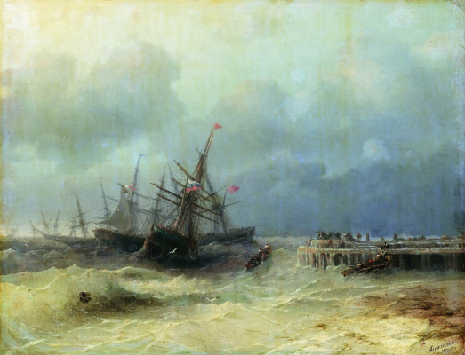 Ivan Aivazovsky. Fleeing from the storm