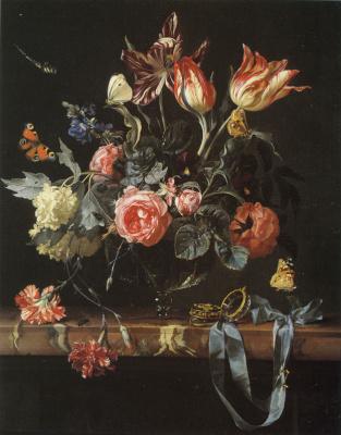 Willem van Aelst. Vase with flowers