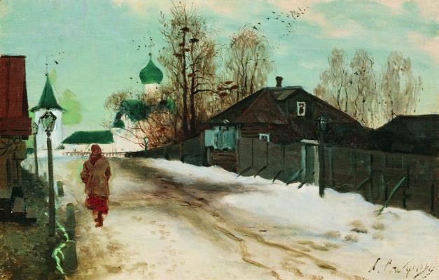Andrei Petrovich Ryabushkin. Mikhaylovskaya street in Novgorod. 1899 Study