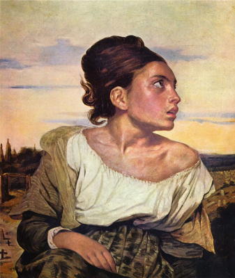 Eugene Delacroix. An orphan in the cemetery