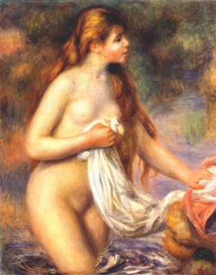 Pierre-Auguste Renoir. Bather with long hair