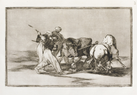 """Francisco Goya. A series of """"Tauromachia"""", page 01: once upon a time a Spaniard on horseback hunted the wild bull in the field"""