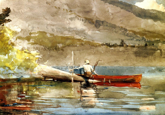 Winslow Homer. Red canoe