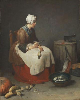 Жан Батист Симеон Шарден. Кухарка, чистящая брюкву