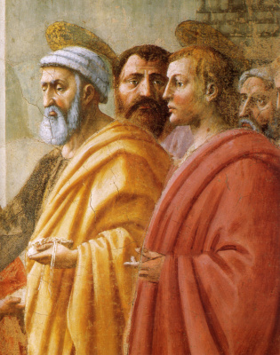 Tommaso Masaccio. Brancacci Chapel. Distribution of alms and death of Ananias. Fragment. St. Peter