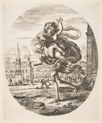 Stefano della Bella. Death carrying a child, from 'The five deaths' (Les cinq Morts),