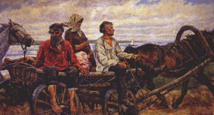 Petr Petrovich Konchalovsky. Novgorod. Returning from the fair