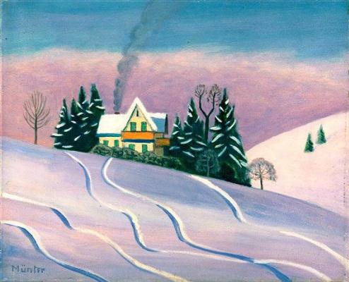 Gabriele Münter. Winter landscape in Bavaria