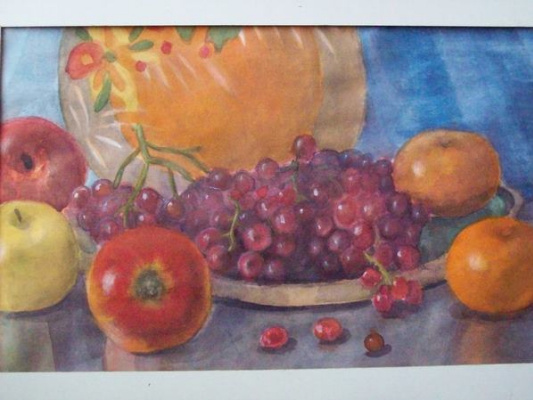 Olga Vladimirovna Mikhaylenko. Still life with apples, grapes and tangerines