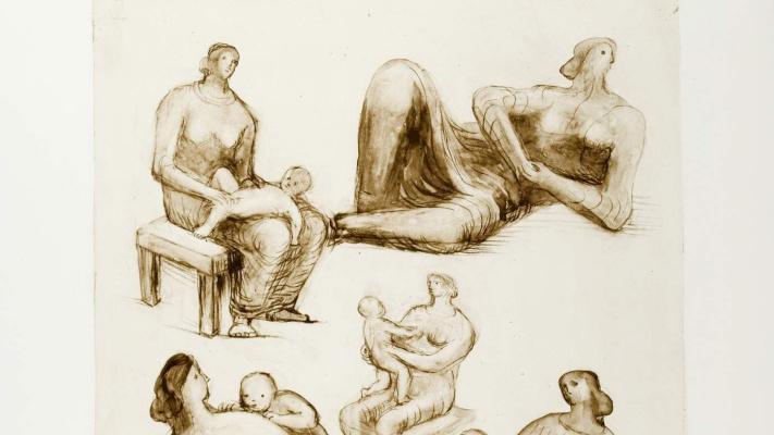 Генри Спенсер Мур. Наброски: Мать и дитя, лежащая фигура