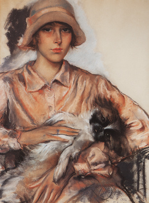 Zinaida Yevgenyevna Serebriakova. Portrait of a lady with a dog. I. Velan