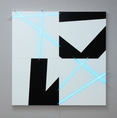 Francois Morelle. 5 random lines (π), painting and neon number 10