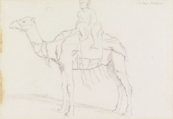 William Holman Hunt. Mustafa Ibrahim on a camel. Profile