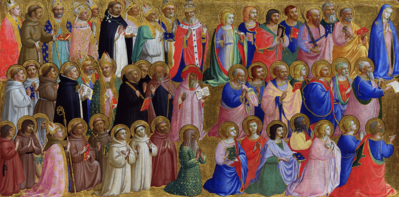 Fra Beato Angelico. Christ in glory: with the Virgin Mary, the apostles, and other saints. The limit of the altar of St. Dominic in Fiesole