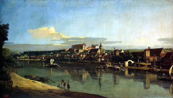 Bernardo Bellotto. View of Pirna from the right Bank of the Elbe