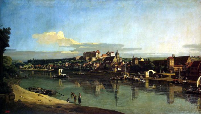 Бернардо Беллотто. Вид Пирны с правого берега Эльбы