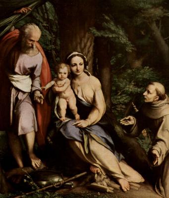 Антонио Корреджо. Отдых на пути в Египет, со св. Франциском.