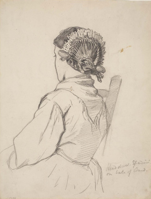 John Singer Sargent. Sketch of a woman in chair, rear view