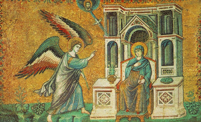 Pietro Cavallini. The Annunciation. From the cycle of mosaics with six scenes from the life of St. Mary in the Church of Santa Maria in Trastevere in Rome