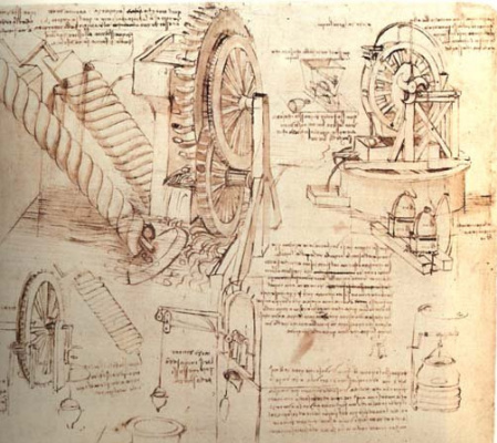 Leonardo da Vinci. Drawings of mechanisms for lifting water