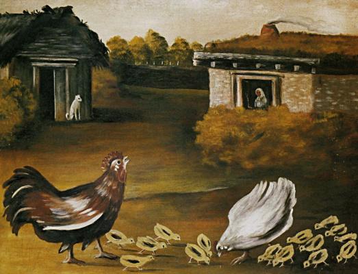 Niko Pirosmani (Pirosmanashvili). A hen with chickens