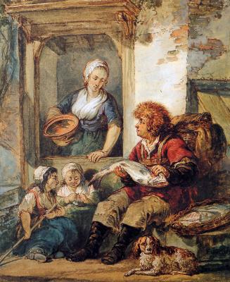 Абрахам ван Стрий. Продавец рыбы с женщиной и детьми