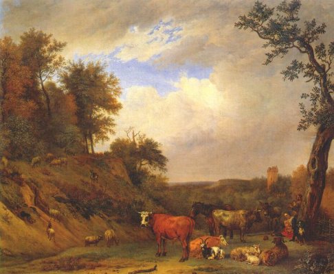 Paulus Potter. Shepherds with cattle