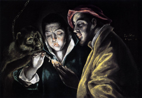Domenico Theotokopoulos (El Greco). A boy lighting a candle in company of a monkey and a fool
