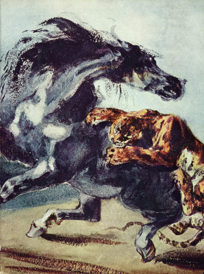 Eugene Delacroix. Tiger attacking the horse