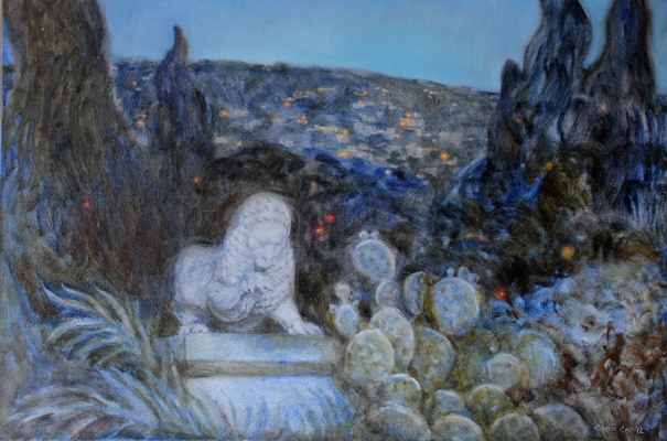 Svitlana Sova. Evening landscape and sculpture of the left