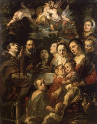 Якоб Йорданс. Self-portrait with parents, brothers and sisters