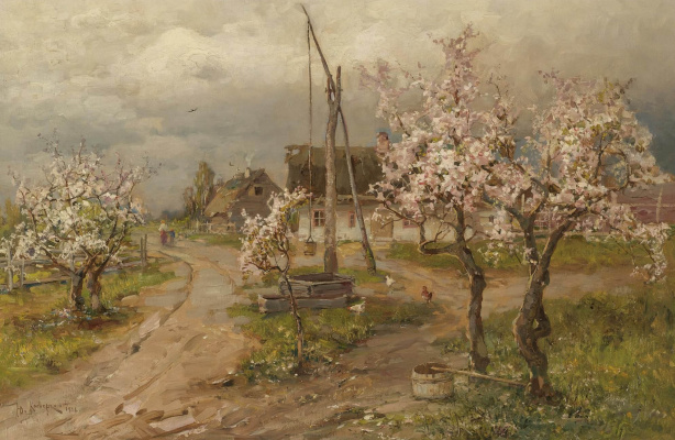 Julius Klever. Landscape with trees in bloom