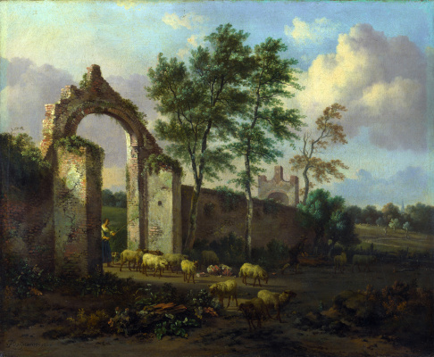 Yang Veinants. Landscape with a ruined archway