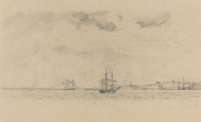 Eugene Boudin. Coastal landscape with the carriage