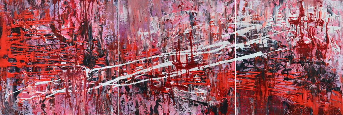"Таня Василенко. ""Abstract 37"", триптих, акрил, холст. Abstract 37, triptych, all parts.Acrylic on Canvas. 2016."
