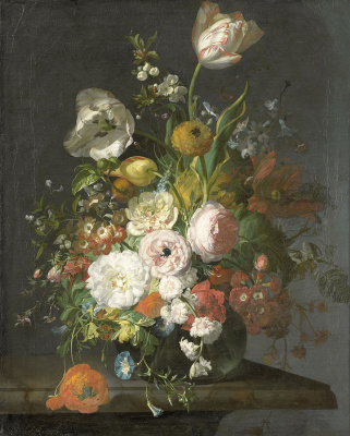 Rachelle Ruysch. Still life with flowers in a glass vase