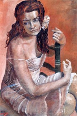 Боррего Руис. Девушка с белым цветком