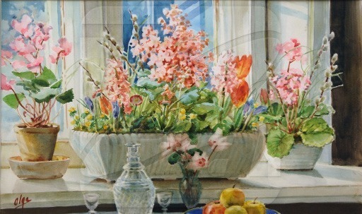 Olga Alexandrovna Romanova. The flowers on the window