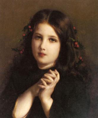 Этьен Адольф Пиот. Молодая девушка с ягодами в волосах