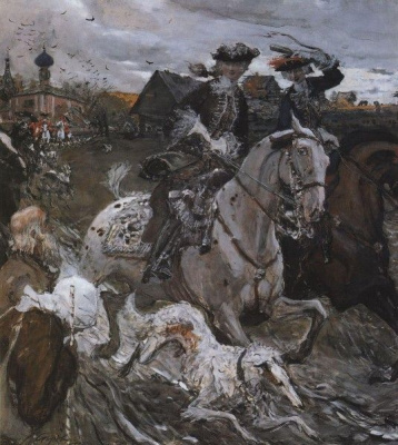 Valentin Aleksandrovich Serov. Emperor Peter II and Princess Elizabeth Petrovna riding to travel from S. Izmailov fall on hound hunting