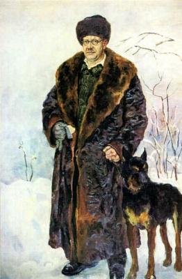 Petr Petrovich Konchalovsky. Self-portrait with dog